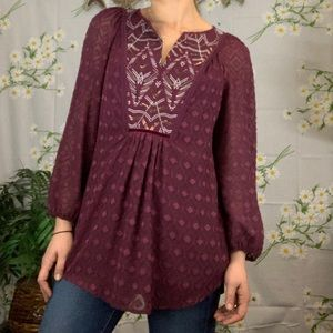 Anthropologie One September purple peasant blouse